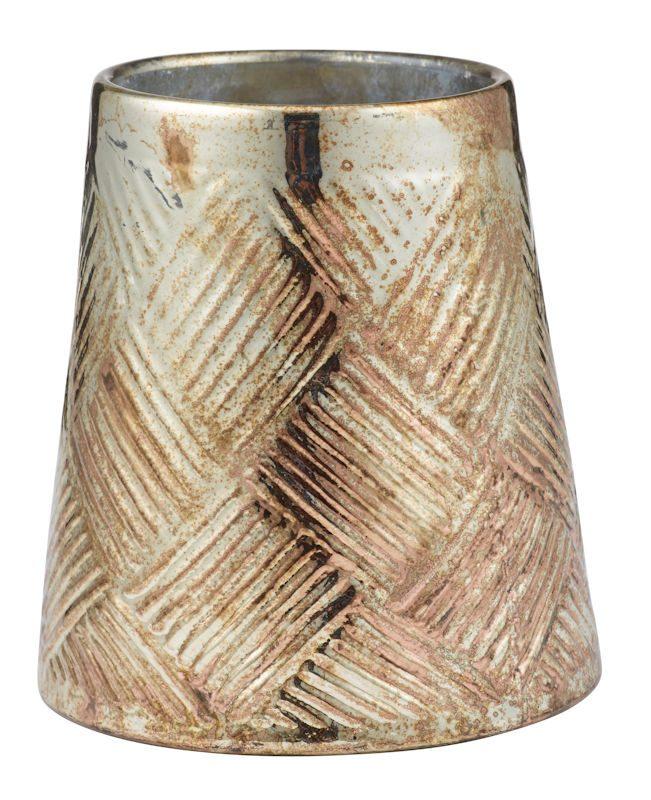 oxidised copper textured vase
