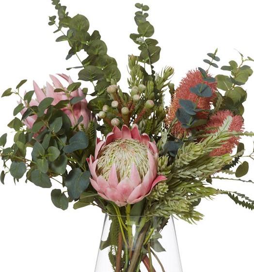 Artificial Floral Arrangement 80cm Banksia Mix Glass