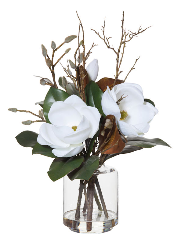Magnolia Mix Artificial Flower Arrangement Glass Vase Sissoni