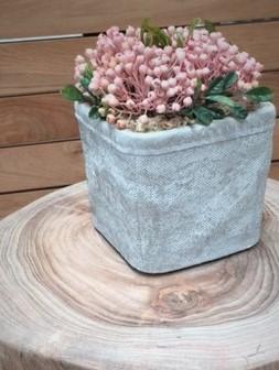 handmade concrete pot artificial plant pink