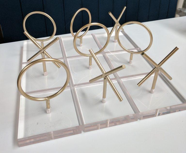gold perspex tic tac toe noughts crosses