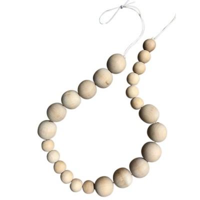 raw wood round bead